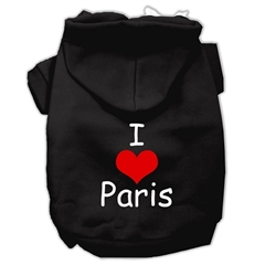 Mirage Pet Products I Love Paris Screen Print Pet Hoodies Black Size XXXL (20)