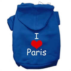 Mirage Pet Products I Love Paris Screen Print Pet Hoodies Blue Size XXXL (20)