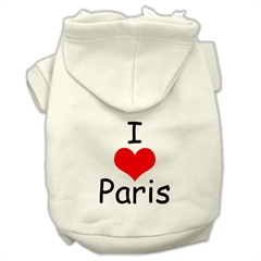 Mirage Pet Products I Love Paris Screen Print Pet Hoodies Cream Size XS (8)