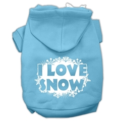Mirage Pet Products I Love Snow Screenprint Pet Hoodies Baby Blue Size L (14)
