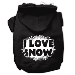Mirage Pet Products I Love Snow Screenprint Pet Hoodies Black Size XXL (18)