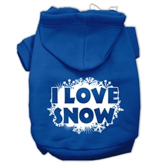 Mirage Pet Products I Love Snow Screenprint Pet Hoodies Blue Size Sm (10)