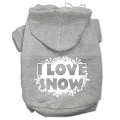 Mirage Pet Products I Love Snow Screenprint Pet Hoodies Grey Size XL (16)