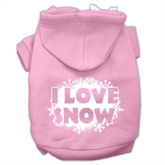 Mirage Pet Products I Love Snow Screenprint Pet Hoodies Light Pink Size S (10)