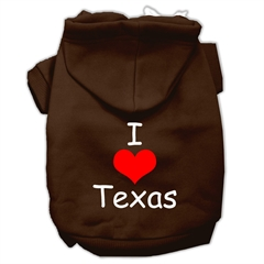 Mirage Pet Products I Love Texas Screen Print Pet Hoodies Brown Size XL (16)
