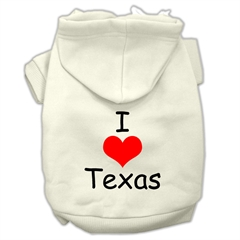 Mirage Pet Products I Love Texas Screen Print Pet Hoodies Cream Size XXXL (20)