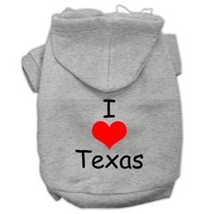 Mirage Pet Products I Love Texas Screen Print Pet Hoodies Grey Size Med (12)