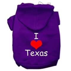 Mirage Pet Products I Love Texas Screen Print Pet Hoodies Purple Size Lg (14)
