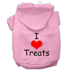 Mirage Pet Products I Love Treats Screen Print Pet Hoodies Pink Size Sm (10)