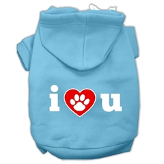 Mirage Pet Products I Love U Screen Print Pet Hoodies Baby Blue Size XXXL (20)