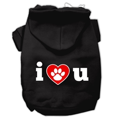 Mirage Pet Products I Love U Screen Print Pet Hoodies Black Size Med (12)