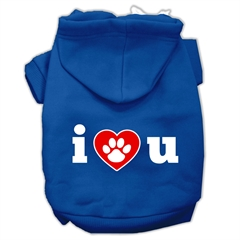 Mirage Pet Products I Love U Screen Print Pet Hoodies Blue Size XL (16)