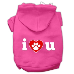 Mirage Pet Products I Love U Screen Print Pet Hoodies Bright Pink Size Sm (10)