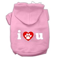 Mirage Pet Products I Love U Screen Print Pet Hoodies Light Pink Size Lg (14)