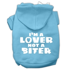 Mirage Pet Products I'm a Lover not a Biter Screen Printed Dog Pet Hoodies Baby Blue Size XXL (18)