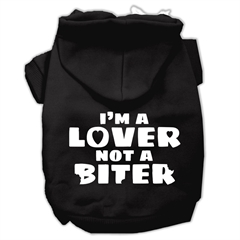 Mirage Pet Products I'm a Lover not a Biter Screen Printed Dog Pet Hoodies Black Size Med (12)
