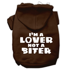 Mirage Pet Products I'm a Lover not a Biter Screen Printed Dog Pet Hoodies Brown Size Sm (10)