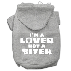 Mirage Pet Products I'm a Lover not a Biter Screen Printed Dog Pet Hoodies Grey Size XXL (18)
