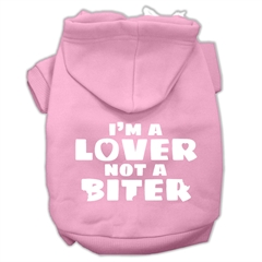 Mirage Pet Products I'm a Lover not a Biter Screen Printed Dog Pet Hoodies Light Pink Size Med (12)