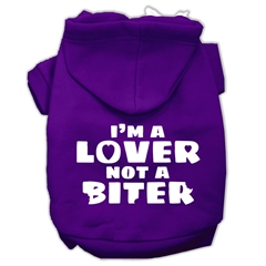 Mirage Pet Products I'm a Lover not a Biter Screen Printed Dog Pet Hoodies Purple Size XXXL (20)