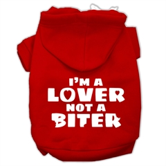 Mirage Pet Products I'm a Lover not a Biter Screen Printed Dog Pet Hoodies Red Size Lg (14)