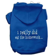 Mirage Pet Products I really did eat the Homework Screen Print Pet Hoodies Blue Size XS (8)