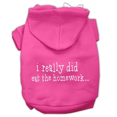 Mirage Pet Products I really did eat the Homework Screen Print Pet Hoodies Bright Pink Size XXL (18)