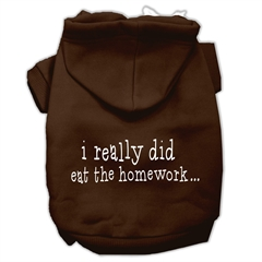 Mirage Pet Products I really did eat the Homework Screen Print Pet Hoodies Brown Size M (12)