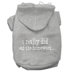 Mirage Pet Products I really did eat the Homework Screen Print Pet Hoodies Grey Size XXL (18)