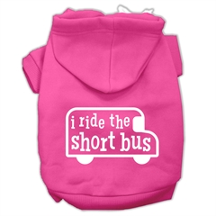 Mirage Pet Products I ride the short bus Screen Print Pet Hoodies Bright Pink Size XL (16)