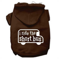 Mirage Pet Products I ride the short bus Screen Print Pet Hoodies Brown Size S (10)