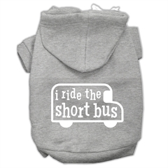 Mirage Pet Products I ride the short bus Screen Print Pet Hoodies Grey Size M (12)