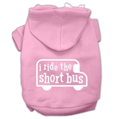 Mirage Pet Products I ride the short bus Screen Print Pet Hoodies Light Pink Size S (10)