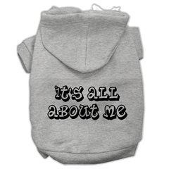 Mirage Pet Products It's All About Me Screen Print Pet Hoodies Grey Size XL (16)