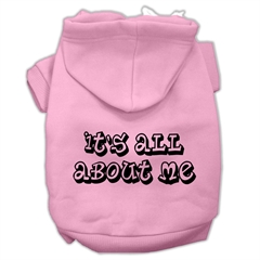 Mirage Pet Products It's All About Me Screen Print Pet Hoodies Light Pink Size Med (12)