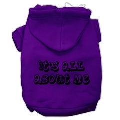 Mirage Pet Products It's All About Me Screen Print Pet Hoodies Purple Size Sm (10)