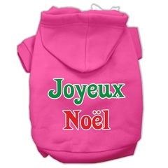 Mirage Pet Products Joyeux Noel Screen Print Pet Hoodies Bright Pink M (12)