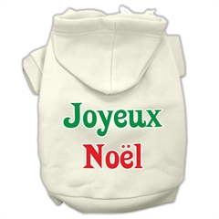 Mirage Pet Products Joyeux Noel Screen Print Pet Hoodies Cream Size XL (16)