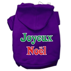 Mirage Pet Products Joyeux Noel Screen Print Pet Hoodies Purple XXXL(20)