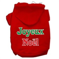 Mirage Pet Products Joyeux Noel Screen Print Pet Hoodies Red Size XXXL(20)