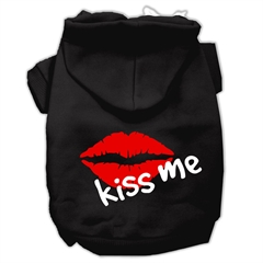 Mirage Pet Products Kiss Me Screen Print Pet Hoodies Black Size XS (8)