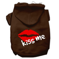 Mirage Pet Products Kiss Me Screen Print Pet Hoodies Brown Size Lg (14)