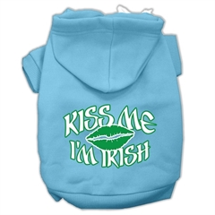 Mirage Pet Products Kiss Me I'm Irish Screen Print Pet Hoodies Baby Blue Size Med (12)