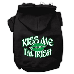 Mirage Pet Products Kiss Me I'm Irish Screen Print Pet Hoodies Black Size Med (12)