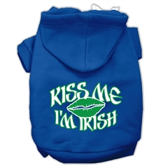 Mirage Pet Products Kiss Me I'm Irish Screen Print Pet Hoodies Blue Size Lg (14)