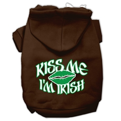 Mirage Pet Products Kiss Me I'm Irish Screen Print Pet Hoodies Brown Size Med (12)
