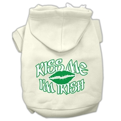Mirage Pet Products Kiss Me I'm Irish Screen Print Pet Hoodies Cream Size Sm (10)