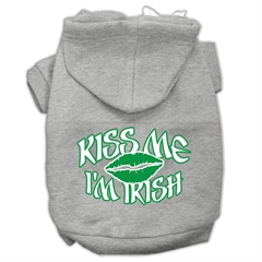 Mirage Pet Products Kiss Me I'm Irish Screen Print Pet Hoodies Grey Size XL (16)
