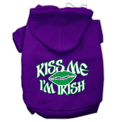 Mirage Pet Products Kiss Me I'm Irish Screen Print Pet Hoodies Purple Size XXXL (20)
