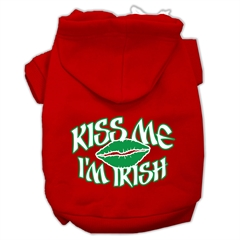 Mirage Pet Products Kiss Me I'm Irish Screen Print Pet Hoodies Red Size XXL (18)